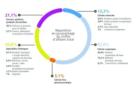Figure 1. Répartition du CA 2008 de l'industrie chimique en France (Source UIC)